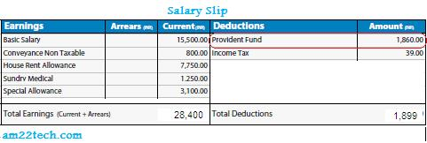 Provident fund as shown on Salary Slip