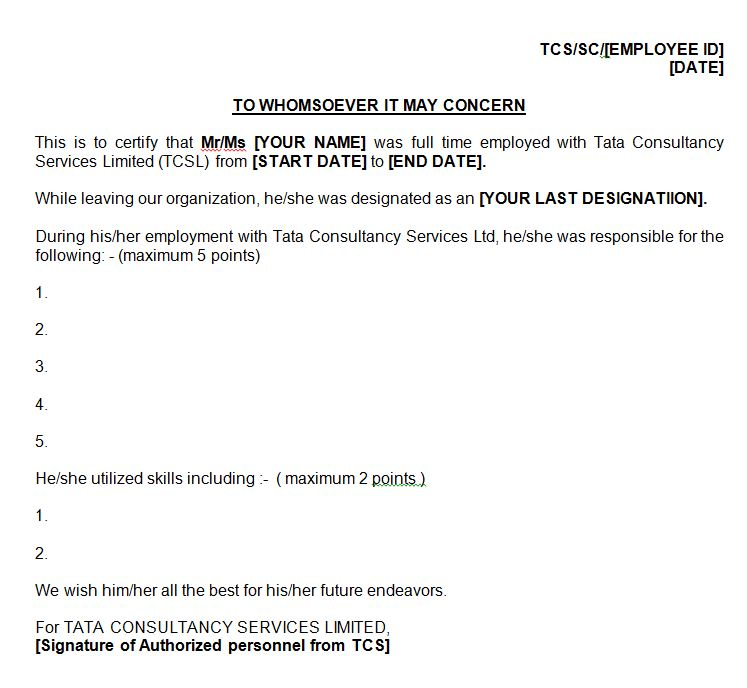 Leaving tcs onsite skill letter for green card am22 tech tcs experience or skill letter with job duties primarily needed for perm application yelopaper Choice Image