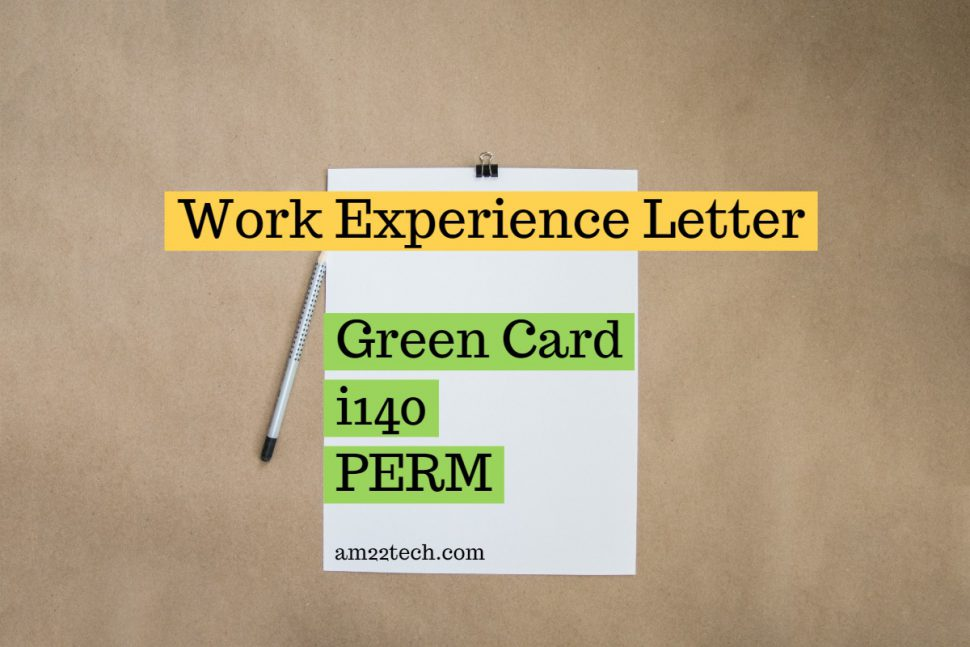 Sample USA green card work experience letter