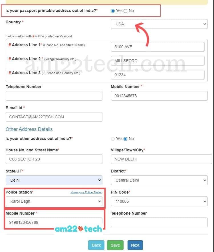 Address details - Indian passport renewal