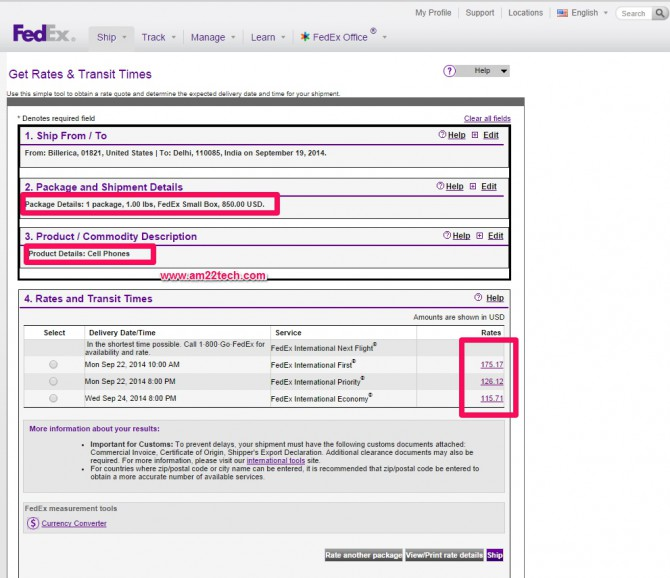 Cost of sending iphone to India by Fedex