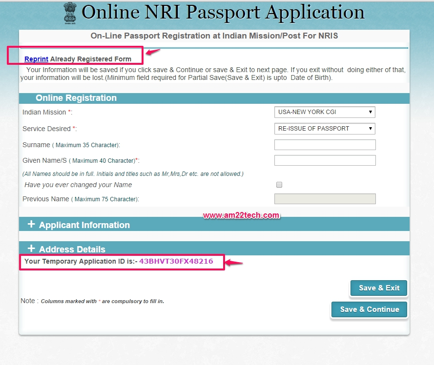 NRI Passsport Online Application Has A Application ID