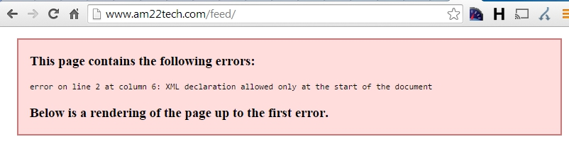 RSS feed wordpress XML declaration error