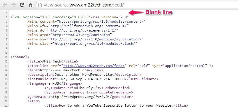 RSS feed in wordpress throws XML declaration error - Source view