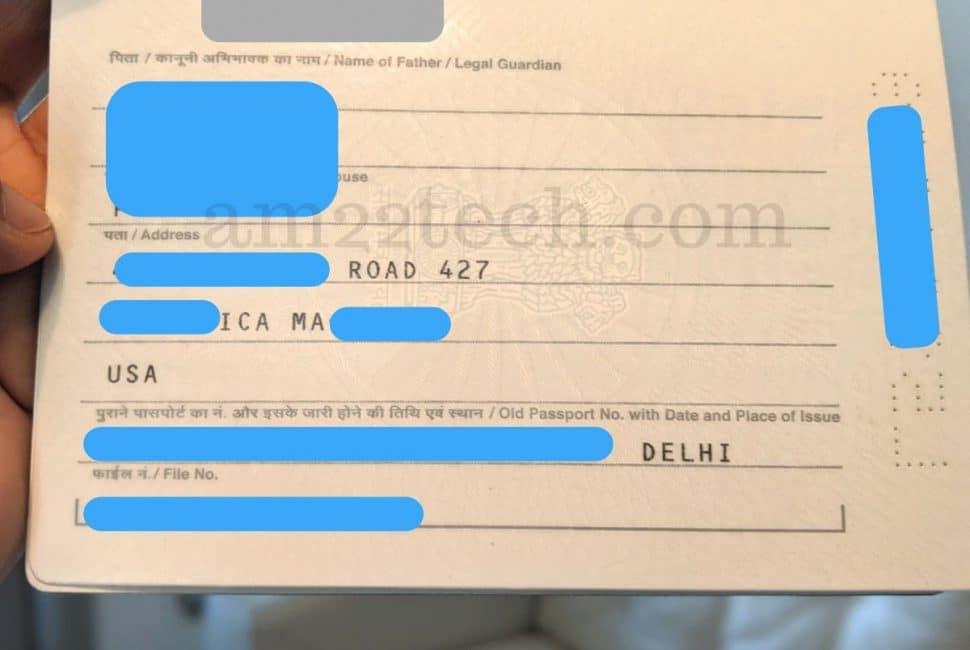 USA address printed on Indian passport