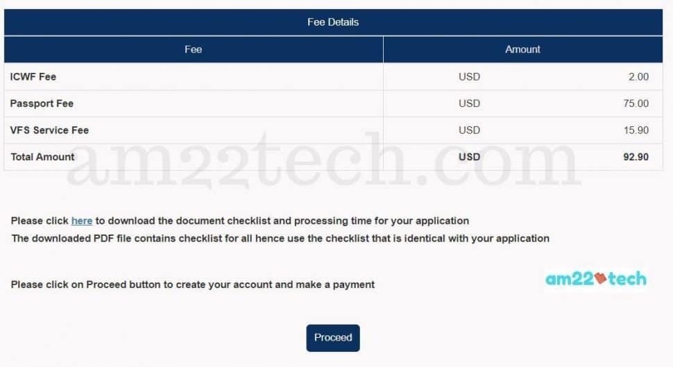 VFS passport application fee in USA