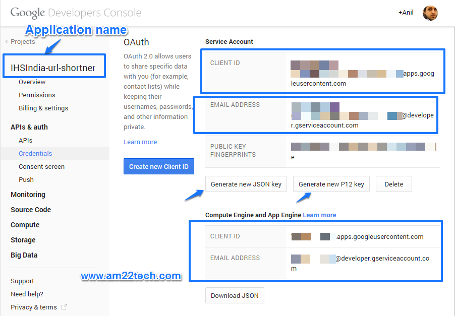 Google URL shortener api - get client keys from developer console