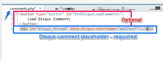 Load disqus on scroll in wordpress. Comments.php file example