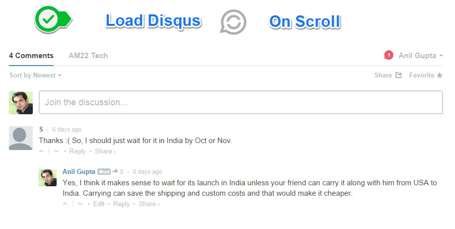 Load disqus on scroll or on click