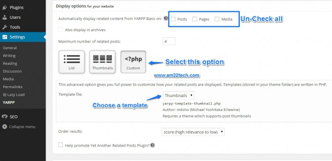 YARPP custom templates - wordpress settings