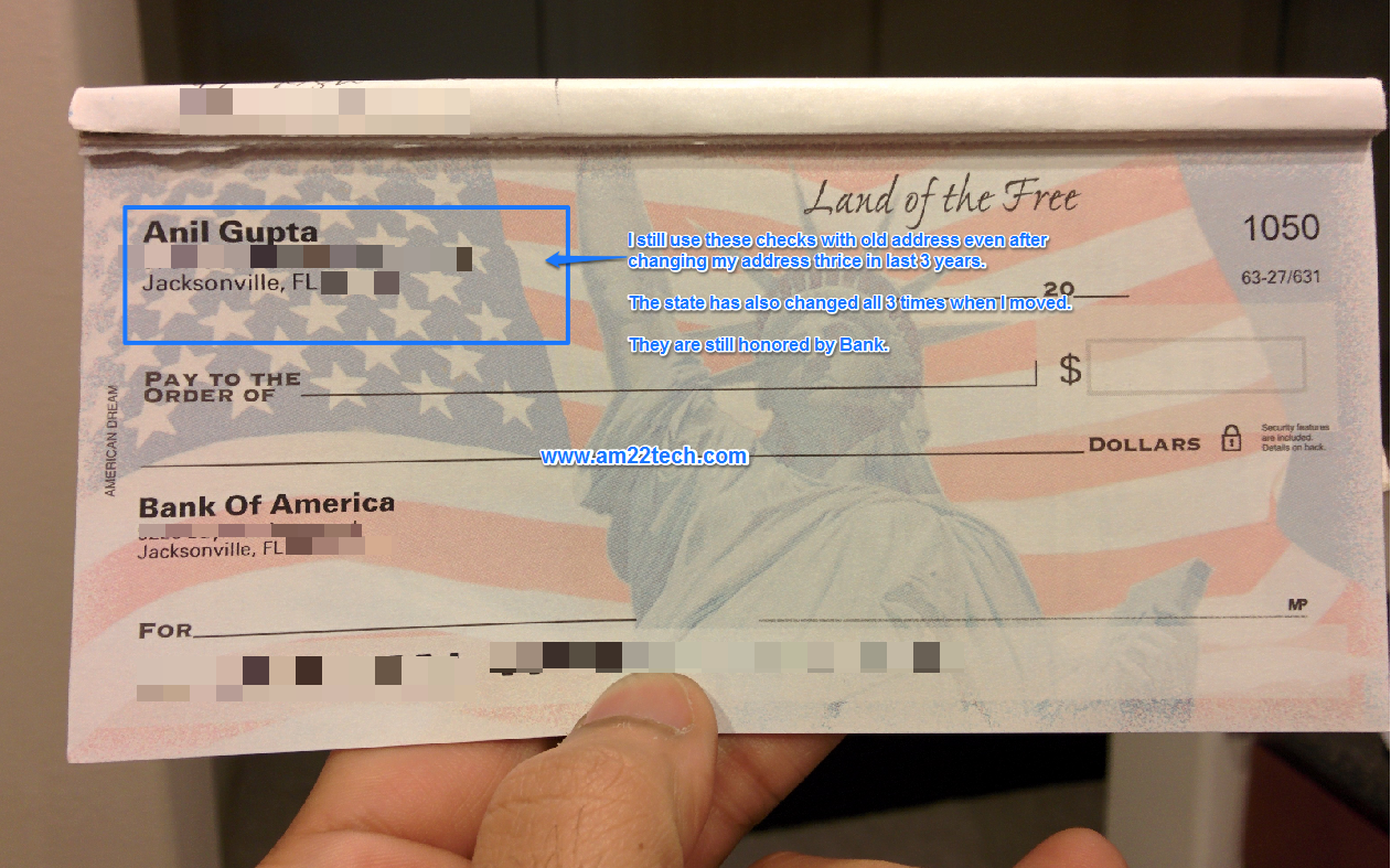 Old Check with printed address is valid to issue even if you change your address in USA