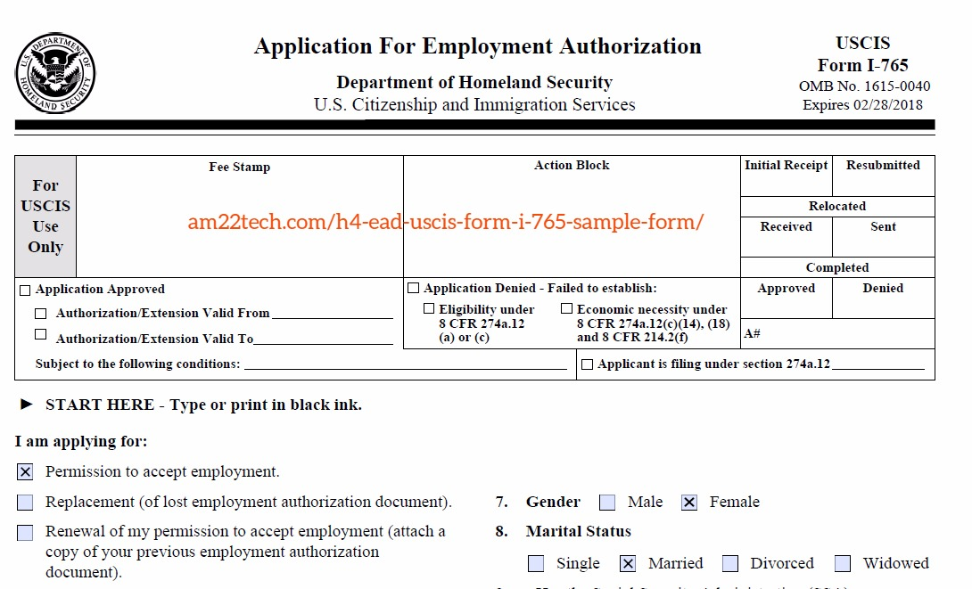 Copy Of Marriage License Request Form For A Confidential: H4 EAD Documents, Sample New Application And Renewals