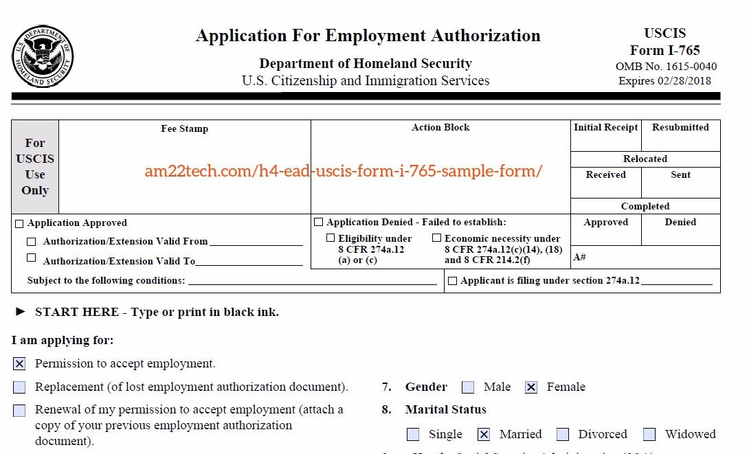 H4 EAD application form