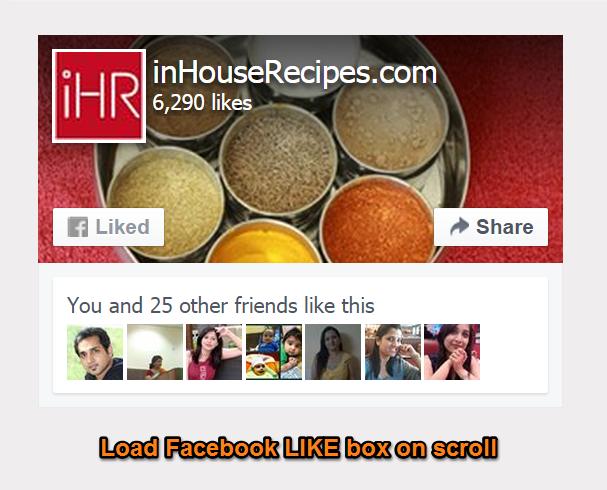 Load facebook LIKE box on scroll