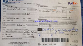 Custom form receipt send mobile to India Via USPS