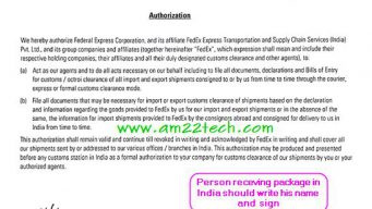 Fedex Authorzation letter for custom clearance in India
