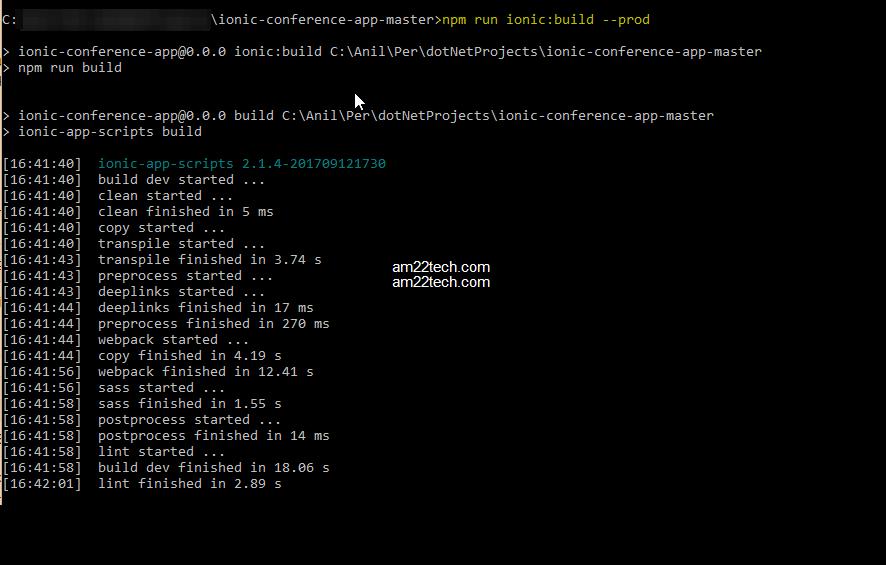 VS Command Line Ionic website build
