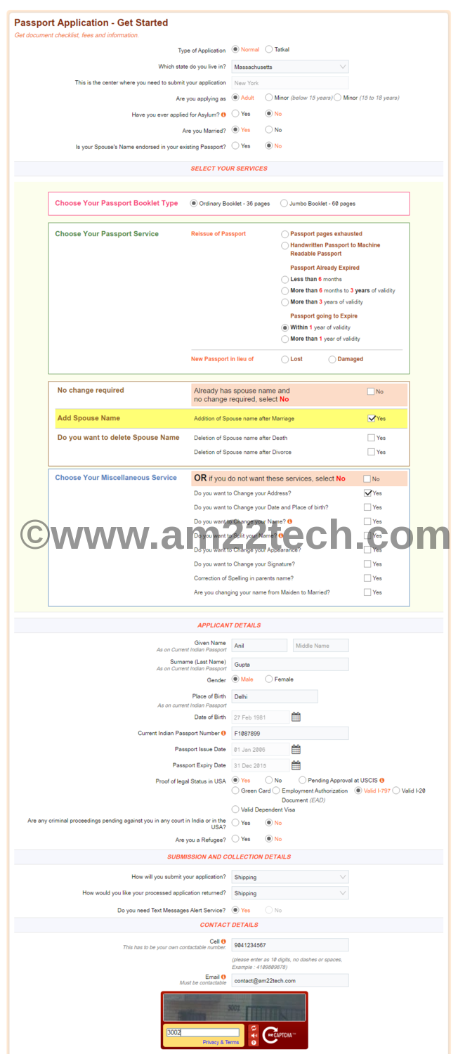 Renew Indian passport in USA with CKGS by post - AM22 Tech