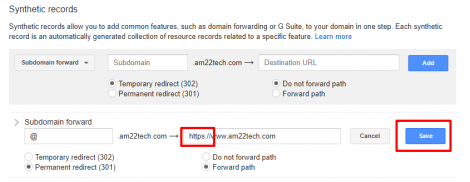 Redirect http to https in Google domains DNS