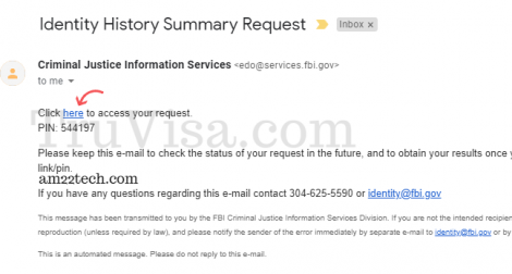 FBI clearance unique link