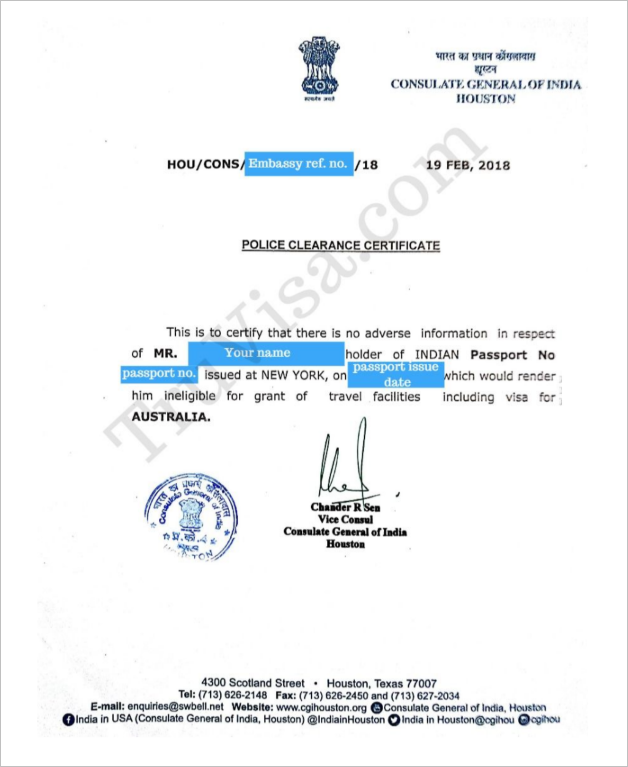 Get Indian Police Clearance Certificate - PCC by Indian