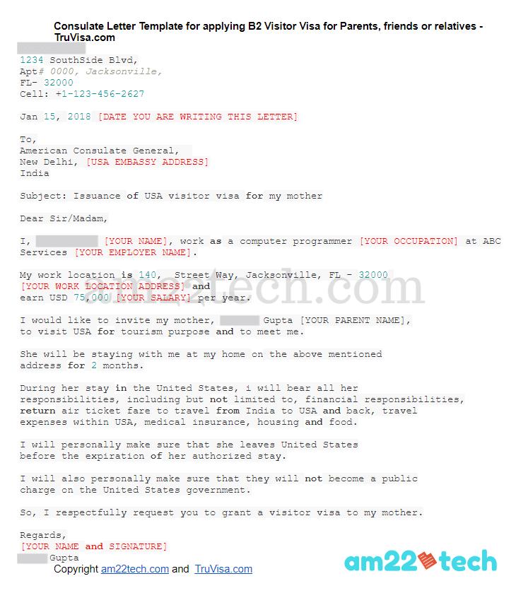 B1/B2 visa consulate letter