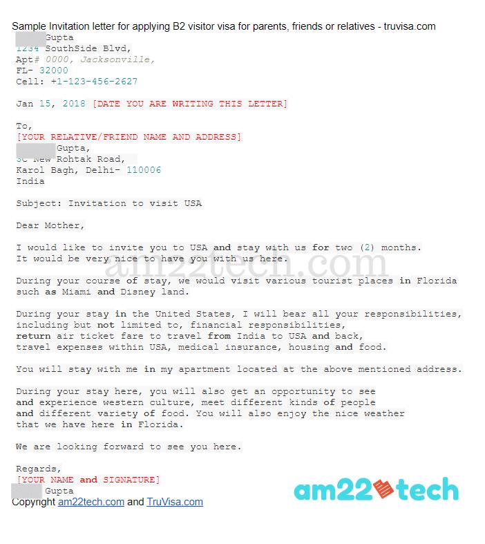 B1/B2 visa invitation letter sample