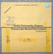 Delhi University Sealed Envelope Transcript for visa