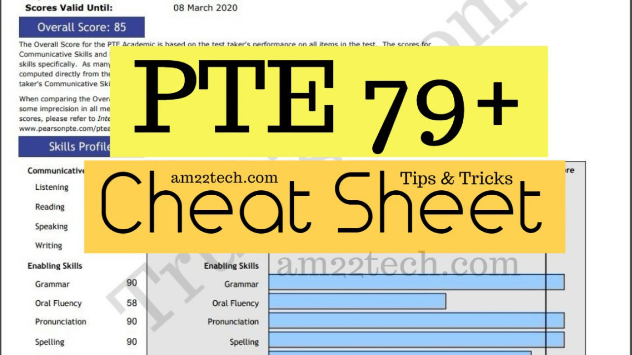 How to Score 79+ PTE Academic In a Week, Tips, Cheat Sheet - AM22 Tech