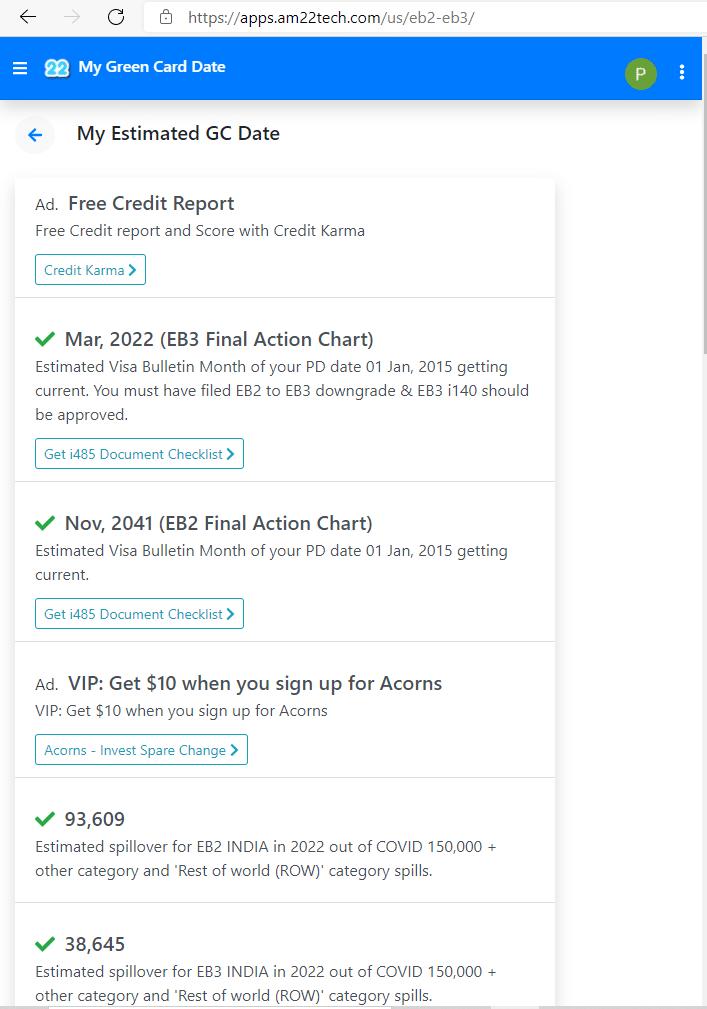 Estimate my green card date