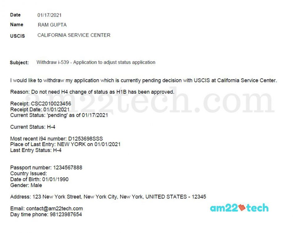 Sample USCIS application withdraw letter