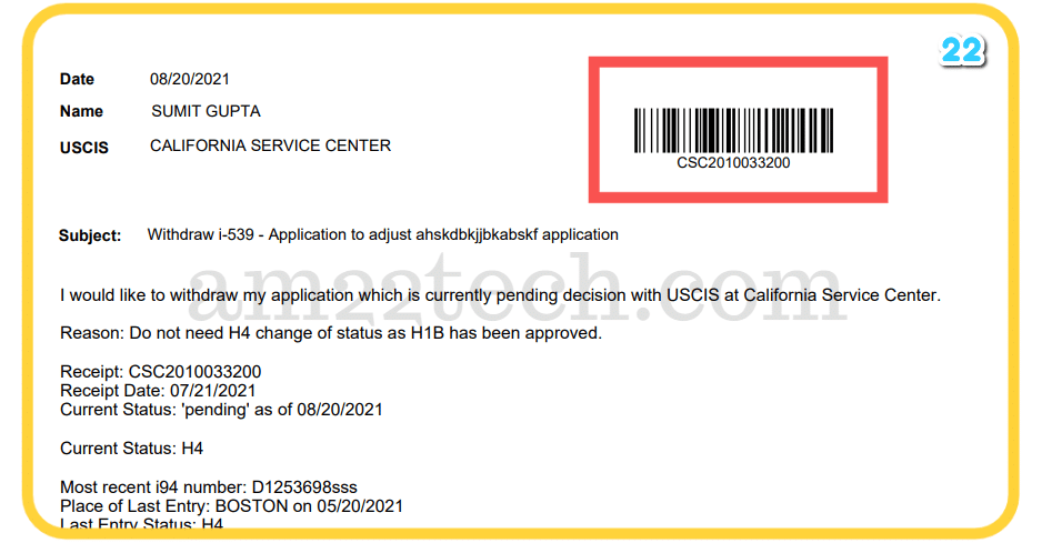 USCIS application withdrawal-letter with barcode