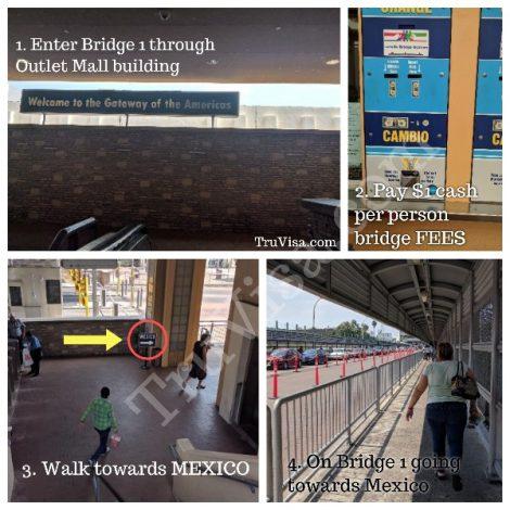 Crossing Bridge 1 by walking at Laredo TX