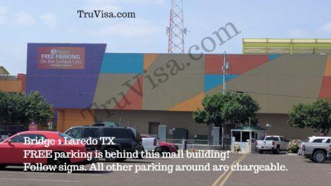 Laredo TX outlet mall border free parking