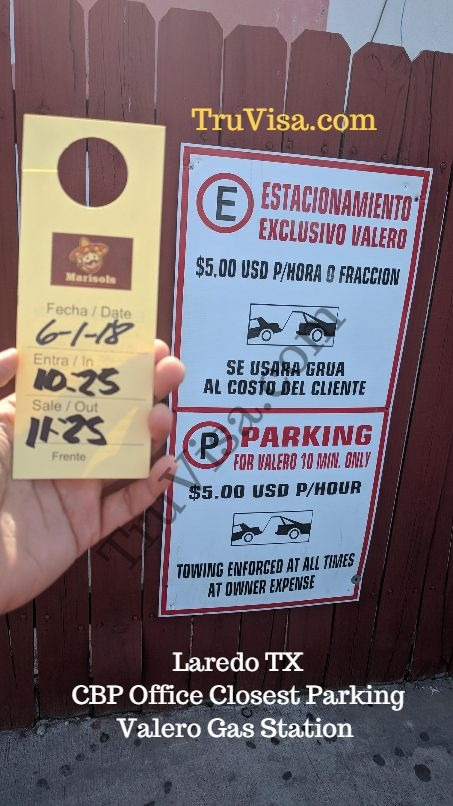 Laredo tx Valero gas station closest parking to CBP office