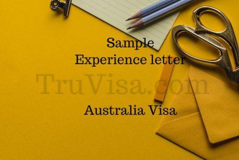 Sample Experience Letter for Australia 189 Visa Assessment
