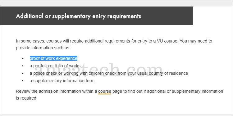 Victoria University needs work experience letter