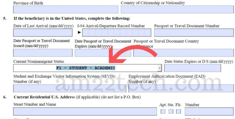 Select F1 as current status in H1B form