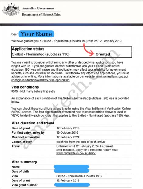 Australia PR grant letter