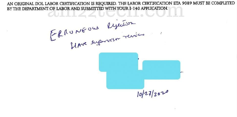 EB3 i-140 downgrade rejection notice by USCIS