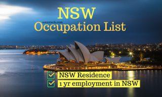 Australia NSW Occupation list for 190 PR