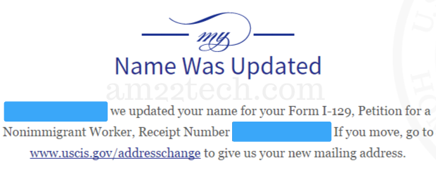 USCIS Status - Name was updated, Change of Address Updated