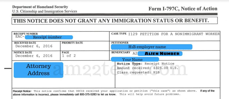 A number on H1B receipt notice