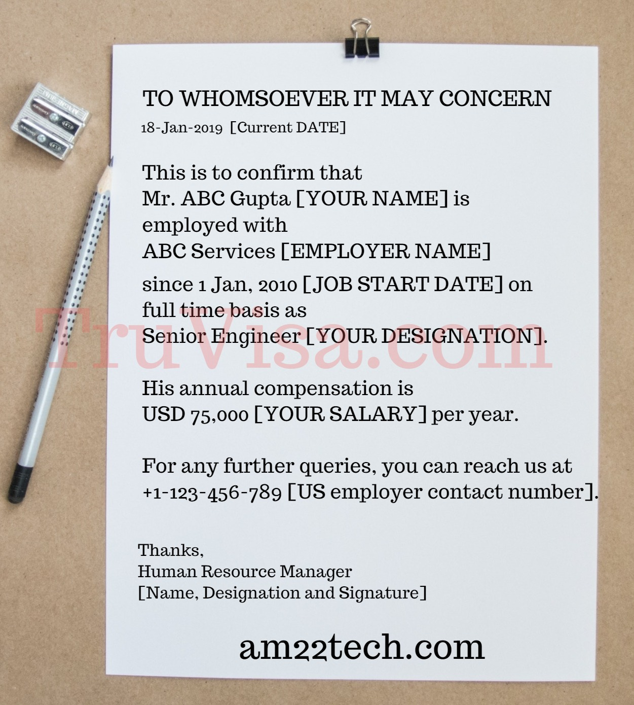 Sample Employment Verification Letter for US Visa Stamping - AM22 Tech