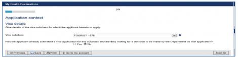 Select Visa type HAP ID