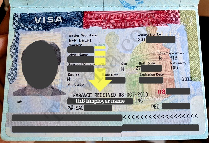 US Visa Annotated Clearance Received or Department