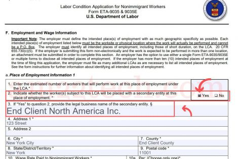 New H1b LCA form requires End Client Name and Address