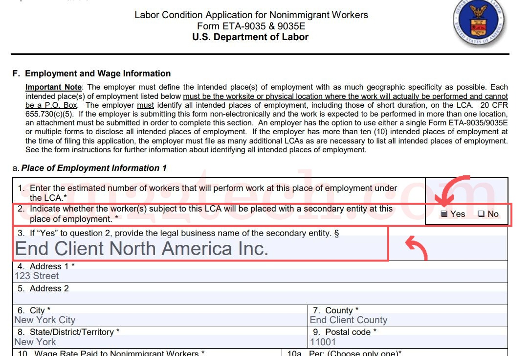 H1b Lca New Form Requires End Client Name Usa