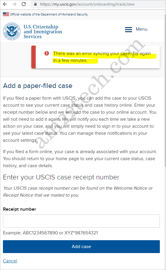 USCIS DHS website account error receipt not found
