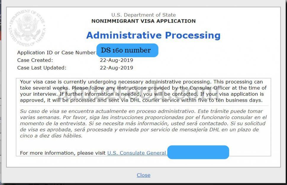 CEAC case status - admin processing